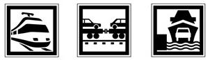 pictogrammes de trains et d'embarcadères
