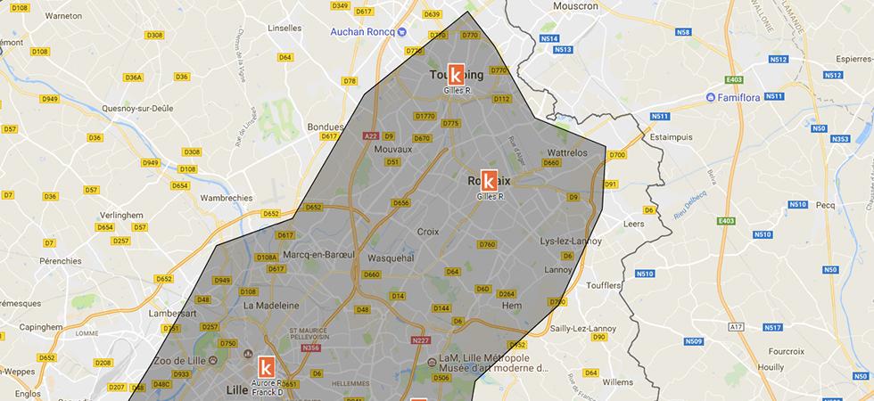 Carte des  points de rendez-vous de l'auto-école Ornikar à Roubaix
