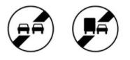 Les panneaux de fin d'interdiction de dépasser
