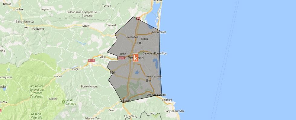 Représentation de la zone couverte par les moniteurs autour de Perpignan