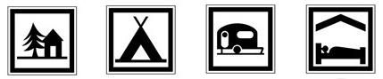 Idéogrammes représentant des lieux de repos 1