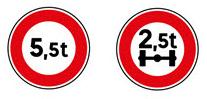 panneaux indiquant un poids limité