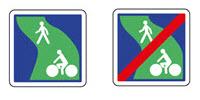 Panneaux représentant une voie verte et une fin de voie verte.