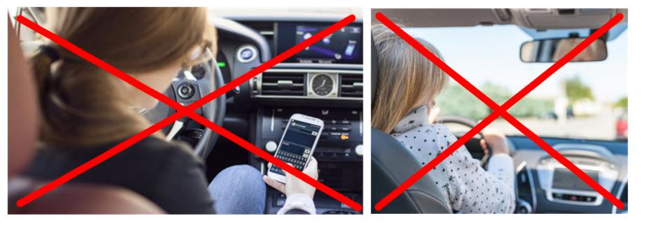 être attentif en conduisant : pas de sms, téléphone et gps