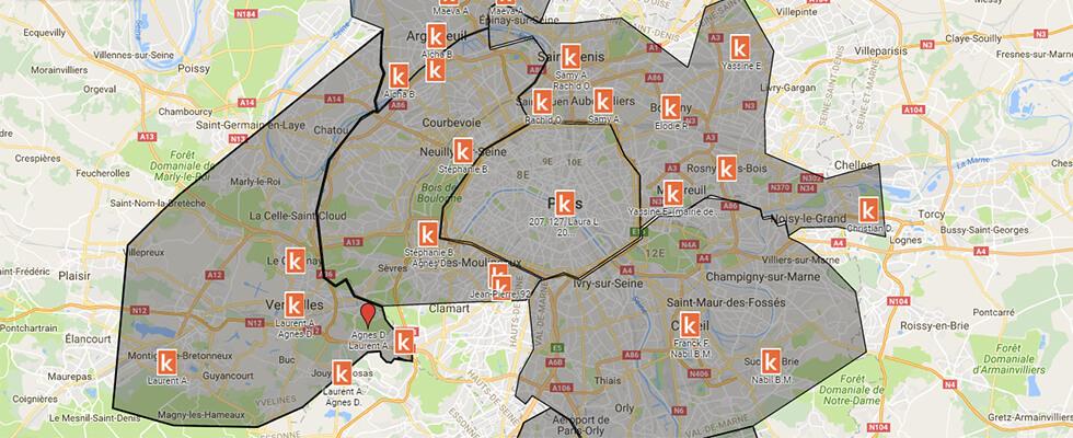 Carte des points de rendez-vous Ornikar à Paris