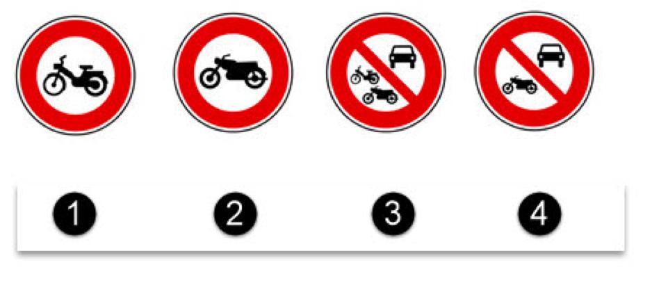 Les panneaux avec des indications pour les deux roues