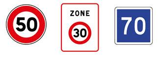 Signalisation verticale : limitations de vitesse