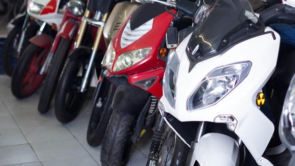 Differents modeles de deux-roues motorises chez un vendeur