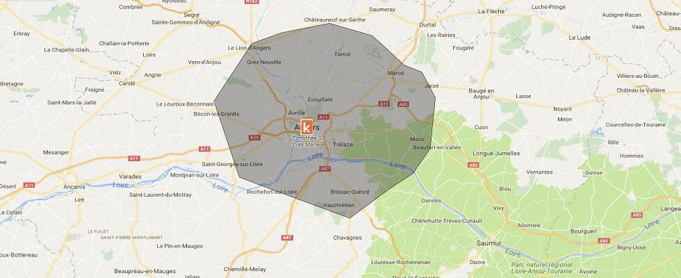 Zone de présence de l'auto-école en ligne Ornikar à Angers