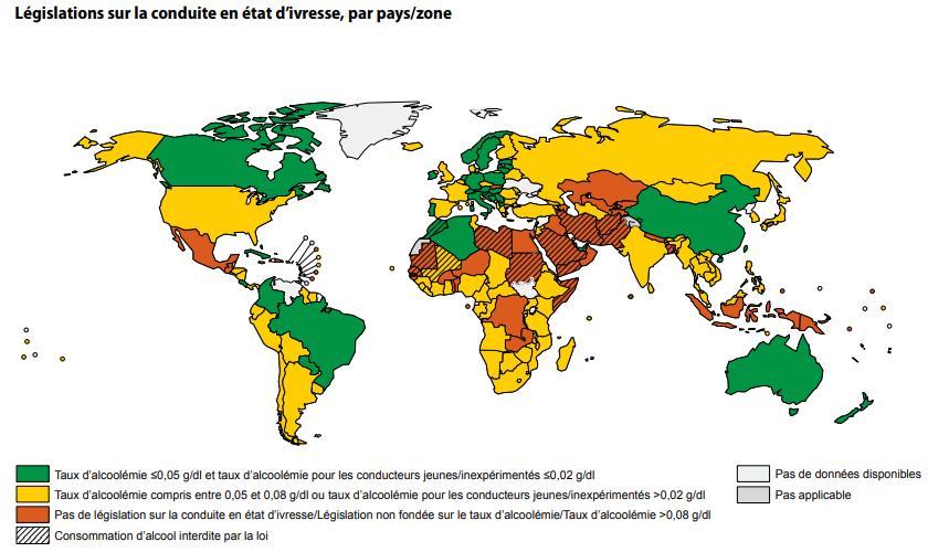 Carte mondiale représentant les taux d'alcoolémie