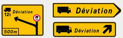 panneaux de déviation relatifs aux usagers lourds