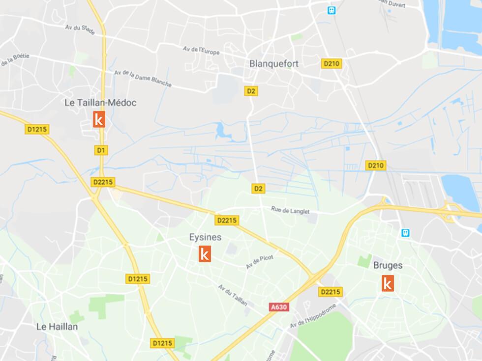Les points de rendez-vous conduite à Bruges, Le Taillan-Médoc et Eysines