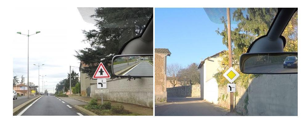 Photographies montrant un panneau de priorité à droite et un panneau de route prioritaire.