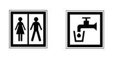 Idéogramme indiquant la présence de toilettes et de points d'eau potable