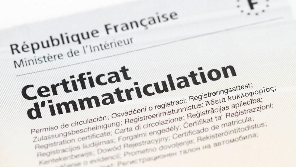 Certificat d'immatriculation d'une automobile