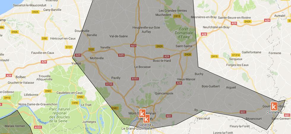 Les points de rendez-vous de l'auto-école en ligne Ornikar à Rouen